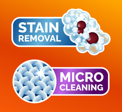 A set of stickers for washing clothes, stickers - micro-cleaning, stain removal, best washing quality, crystal white. Clean linen, fibers, isolated icons, vector illustration