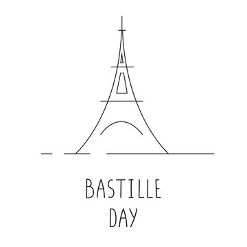 Bastille Day celebration banner. Line art design. Celebrated on July14 annually. Poster, brochure, flyer, postcard, greeting card template. Isolated on white.