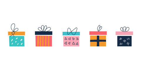 Obraz A set of bright colorful square gift boxes on a white background with bows in a flat doodle style. Vector illustration. Nursery decor, posters, postcards, clothing and interior items - fototapety do salonu