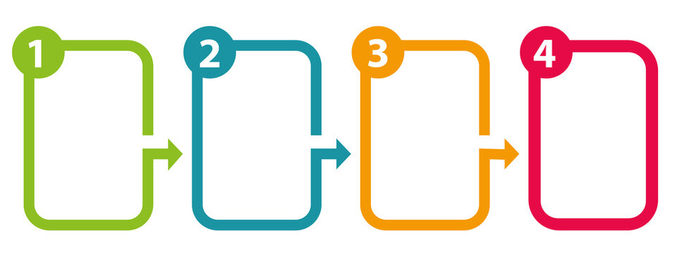 Four steps boxes. Marketing communication. Work in progress template. Vector illustration.