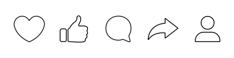 Social media icons set like share comment love repost admin user silhouette flat line art symbols