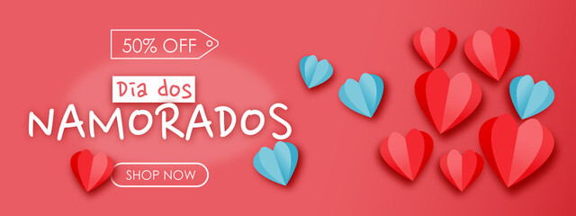 Obraz Dia dos Namorados, Day Sale 50% OFF. Banner with hearts, red background. Shop Valentine's template. - fototapety do salonu
