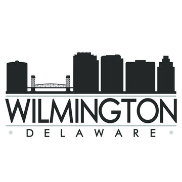 Wilmington, DE, USA Skyline Silhouette Design. Clip Art City Vector Art Famous Buildings Scene Illustration.