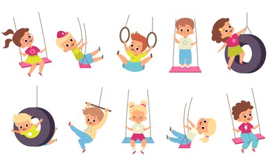 Obraz Rope swings kids. Cartoon boys and girls flying on seesaw. Types set of children carousels. Babies play on playground.. People walk and have fun in park. Vector outdoor activities - fototapety do salonu