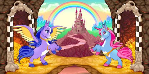 Unicorn and Pegasus near the treasure. Vector cartoon illustration