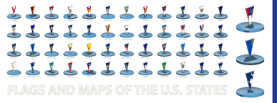Flags and maps of the US States in round isometric style with triangular 3D flag.