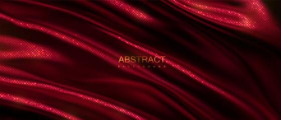 Dark red wavy textile with golden glitters pattern