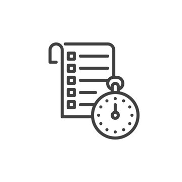 Checklist and stopwatch line icon