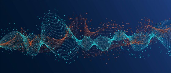 Abstract technology background, free wave design, dot texture, gradient blue background, sound wave, information network, vector illustration