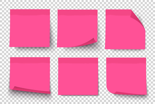 Pink note paper post on transparent grey background. Sticker set on wall. Notepad. Vector realistic 3d illustration. Sticky note collection with curled corners and shadows.