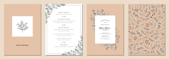 Obraz Modern universal artistic templates. Birthday invitations and corporate Holiday cards. Floral frames and backgrounds design.  - fototapety do salonu