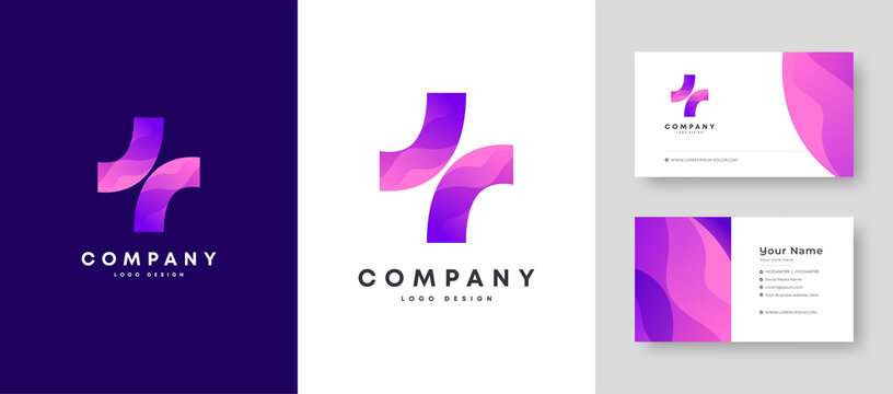 Colorful Initial Health Care Plus + Logo With Premium Corporate Stylish Business Card Design Vector Template for Your Company Business