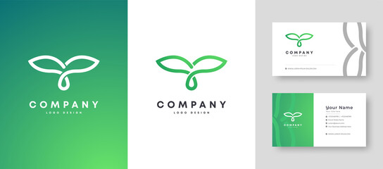 Fototapeta Flat minimal Colorful Initial Nature Tree T Logo With Premium Corporate Stylish Business Card Design Vector Template for Your Company Business obraz