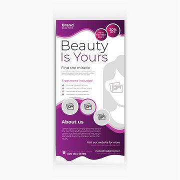 Spa beauty salon rack card dl flyer design template