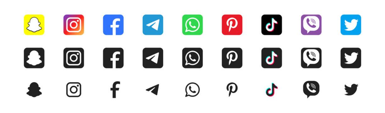 Kiev, Ukraine - May 31, 2021: Popular social media logotype icon set. Instagram Facebook TikTok Twitter symbol collection on white background.