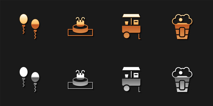 Set Balloons, Fountain, Fast street food cart and Popcorn box icon. Vector