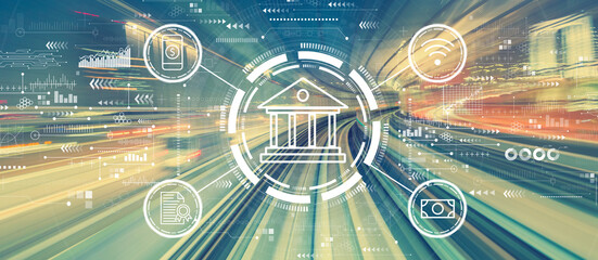 Fototapeta Online banking concept with high speed motion blur obraz