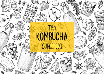 Obraz Kombucha tea and ingredients for kombucha sketch. Hand drawn vector illustration. Kombucha drink. Tea mushroom, tea fungus, or Manchurian mushroom. - fototapety do salonu