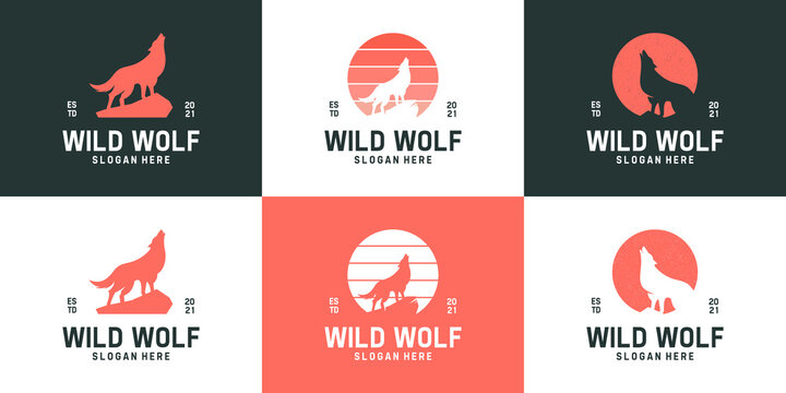 Set of simple howling wolf logo collection. Creative silhouette wild animals logo template.