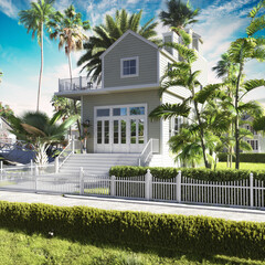 Fototapeta Adorable beech two story bungalow nestled between large palm trees. 3d rendering obraz