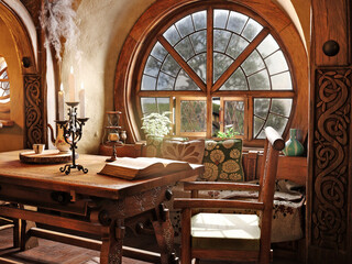 Fototapeta Fantasy tiny storybook style home interior cottage with rustic accents and a large round cozy window. 3d rendering  obraz