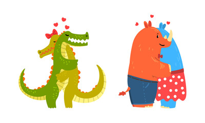 Obraz Animal Couples in Love Set, Cute Romantic Rhinoceros and Crocodile Characters Hugging Cartoon Vector Illustration - fototapety do salonu
