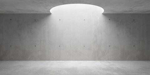 Obraz Abstract empty, modern concrete room with circular opening in the ceiling and rough floor - industrial interior background template - fototapety do salonu