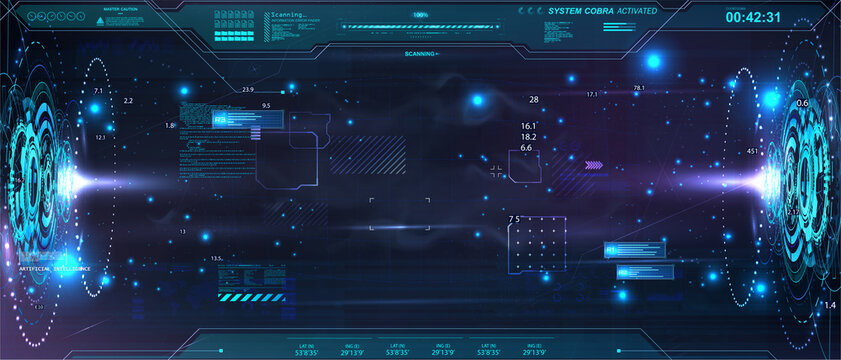 Horizontal abstract holograms with HUD interface. Blank cyberspace with futuristic elements. Circle elements Sci-fi podium for show product in cyberpunk style. 3D holograms HUD for UI, Web. Vector lab