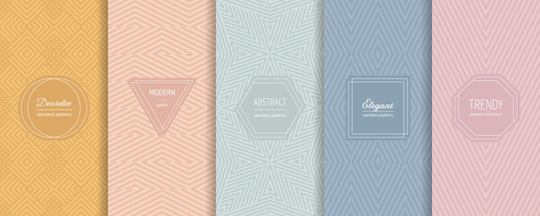 Fototapeta Vector geometric seamless patterns. Set of stylish pastel backgrounds with elegant minimal labels. Abstract modern line ornament textures. Trendy nude color palette. Design for print, package, decor obraz