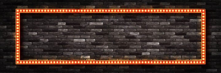 Fototapeta Vector realistic isolated red lightbox marquee frame with neon bulb lamps for template decoration on the wall background. Concept of cinema, theatre and premiere. obraz