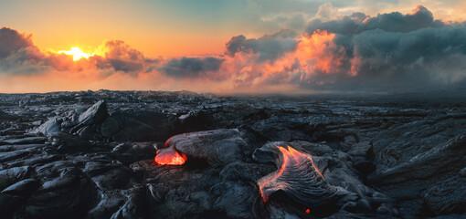 Obraz Lava Field under sunset clouds on background - fototapety do salonu