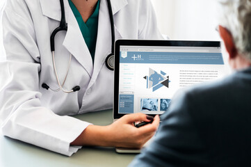 Fototapeta Doctor suggesting hospital program to patient obraz