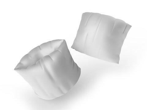 Blank inflatable swim arm bands, 3d render illustration.