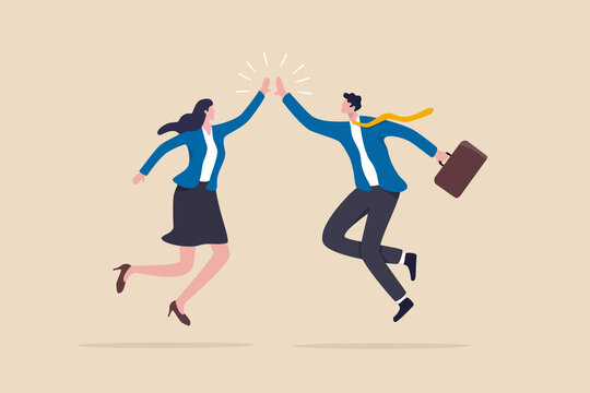 Team success winners, hi five or congratulation on business goal achievement, collaboration or encouragement concept, happy businessman and woman teamwork coworkers jumping and hi five clapping hands.