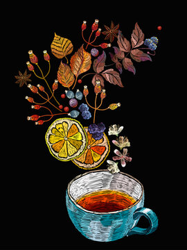 Embroidery cup of tea, berries and autumn leaves. Template of clothes, tapestry, t-shirt design