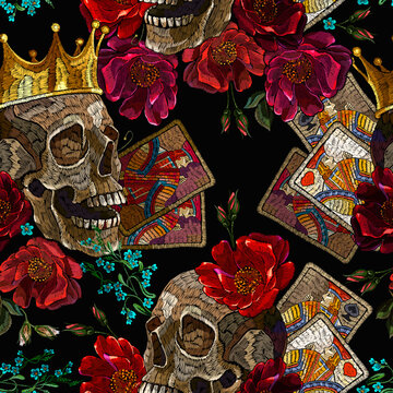 Embroidery human skull, golden crown, playing cards and red roses flowers. Seamless pattern. Dark gothic halloween art. Medieval kings, fairy tale. Fashion clothes template and t-shirt design