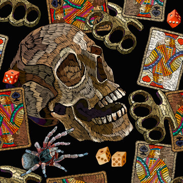 Embroidery playing cards, brass knuckles, human skull and red roses flowers. Seamless pattern. Street culture style. Fashion template for design. Dark gothic halloween art