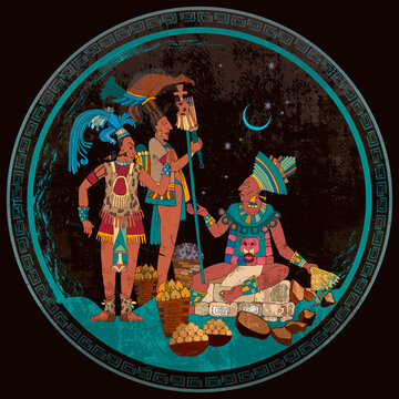 Ancient Mayan. Mural Painting. . Maya tribal art. Ancient mexican history. Old frescos style. Aztec and Inca people