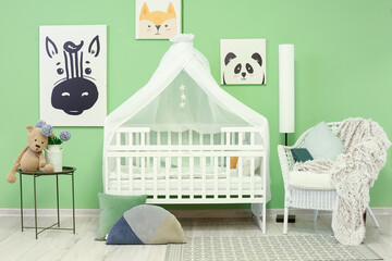 Fototapeta Interior of stylish children's room with comfortable bed obraz