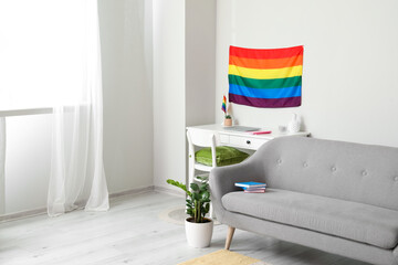 Obraz Sofa and flag of LGBT in interior of living room - fototapety do salonu