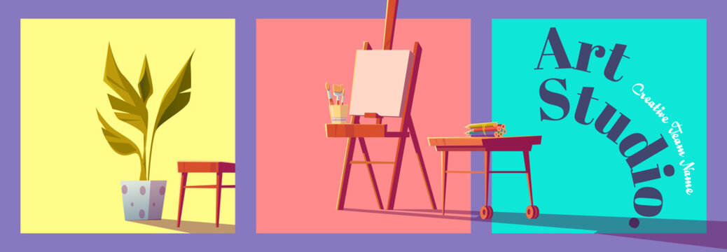 Art studio cartoon banner with artist stuff canvas on easel, paintbrushes, colored pencils on wooden desk and potted plant. Creative design for painter classes or workshop ad, vector illustration