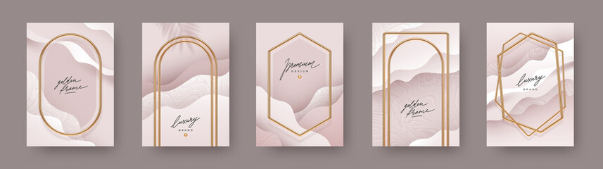 Obraz Set of abstract modern poster. Realistic golden frames and arches on fluid layered background. Elegant luxury design for poster, flyer, cover, postcard. Vector illustration. - fototapety do salonu