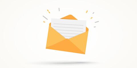 Obraz mail envelope on white background - fototapety do salonu