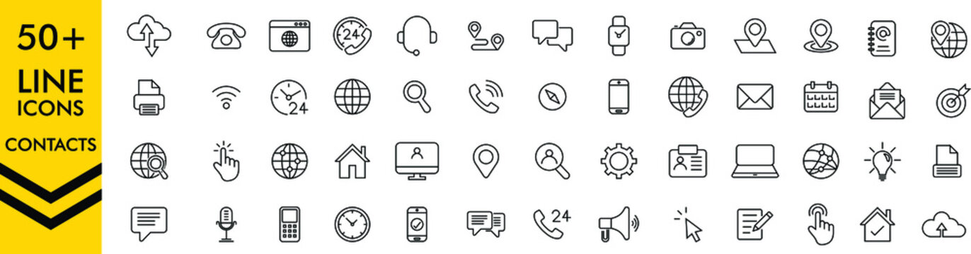 Set of 50+ Contact Us web icons in line style. Web and mobile icon. Chat, support, message, phone. Vector illustration