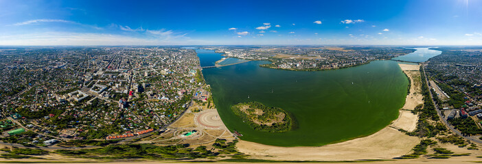 Voronezh, Russia. Panorama of the city from the air. Summer. Aerial view. Panorama 360 - fototapety na wymiar