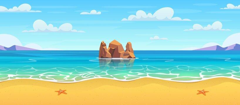 Cartoon summer beach.