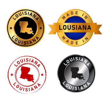 Louisiana badges gold stamp rubber band circle with map shape of country states America