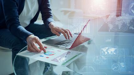 ビジネスとテクノロジー デジタルトランスフォーメーション  - fototapety na wymiar