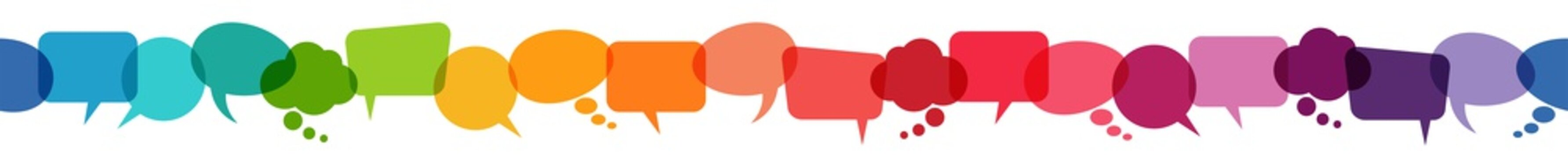 seamless colored speech bubbles in a row
