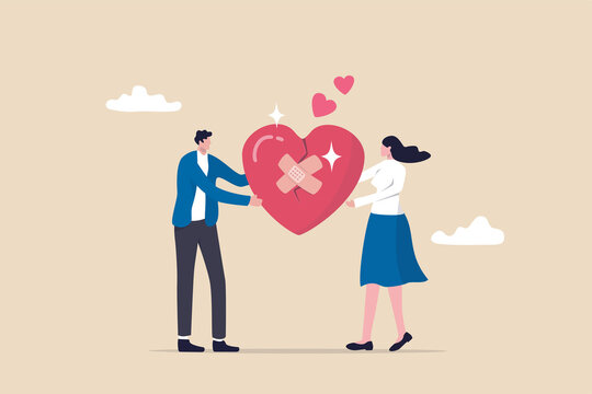 Forgiveness to keep relationship last long, togetherness or love couple concept, happy man and woman, husband and wife with bandage on broken heart shape as forgiveness symbol.
